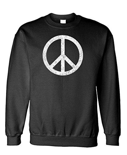 Groovy Love Peace Sign (PEACE SIGN - retro 70's groovy 60's love - Fleece Sweatshirt, 3XL, Black)