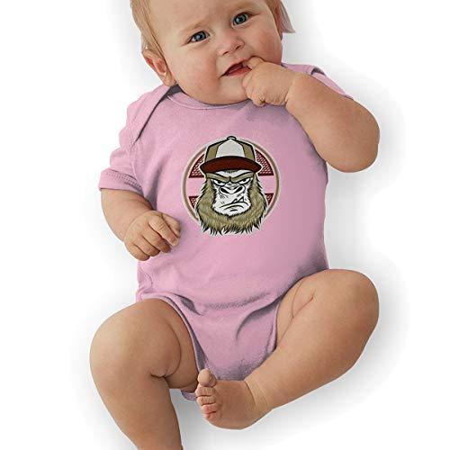 Baby Boy Girl Round Neck Short-Sleeve Romper Skate Gorilla with Cap Jumpsuit Pink -