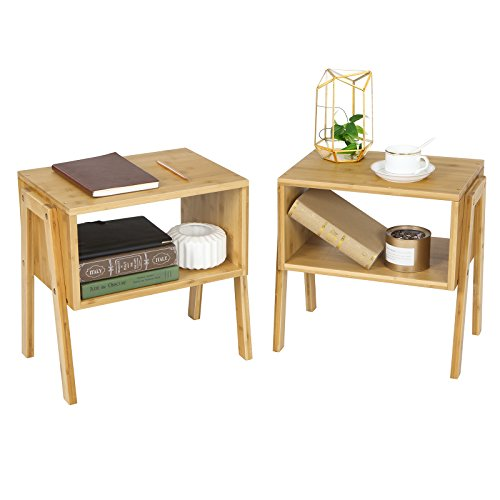 SONGMICS Bamboo Stackable Side End Coffee Couch Console Table (Set of 2)with Open Front Storage Compartment, 100% Sturdy Bamboo Wood, Natural - Table Bedroom Side Set