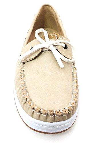 J-bebe Dames Bootschoenen Loafers Oxfords Deck Moc Sneaker Casual Zwart, Bruin, Grijs, Camel, Beige Beige