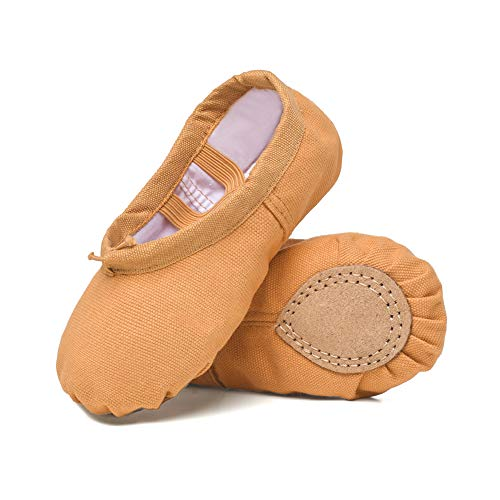 STELLE Girls Womens Canvas Ballet Slippers Flats, Leather Soles Dance Shoes (Brown, 5MB)