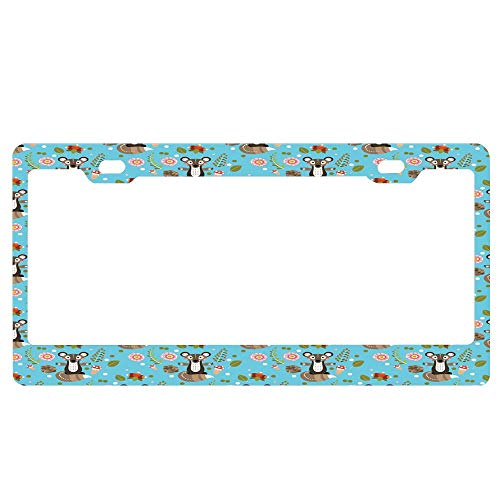 - ASUIframeNJK Cute Character with Flower Blooms Berries Herbs Leaves Buds Pine Cones Forest Print Personalized Custom License Plate Frame Custom Metal License Plate Frame Car License Plate Auto