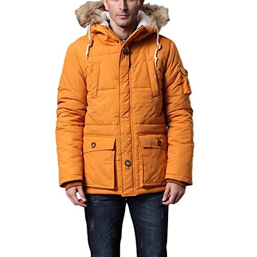 Lunga Giacca Manica Moda Inverno Di Pelliccia Spesso Collo Cappuccio Uomo Cotone Orange Con Casual Shennanji Autunno ByFqScgg