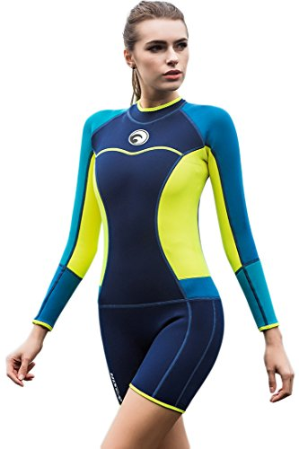Womens Shorty Wetsuit Long Sleeve 1.5MM Neoprene Back Zip Winter Swimwear Long Sleeve Diving Snorkeling Surfing Swimwear (Womens Wetsuit Shorty)