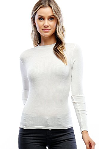 Califul Women's Basic Lightweight Mock Neck Long Sleeve Ribbed Top (Small, BTL01 (Mock Long Sleeve Top)