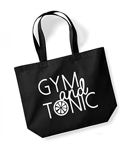 Gym and Tonic - Large Canvas Fun Slogan Tote Bag Black/White