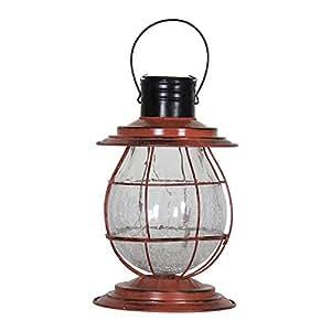 Exhart 12261 Solar Firefly Rust Lantern Light with Base
