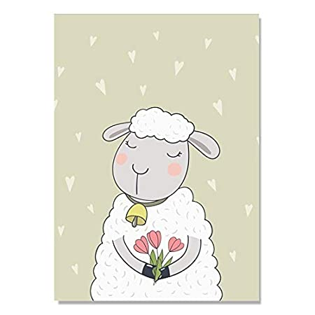 baodanla Sin Marco Cute Sheep Wall Pictures para Sala de ...