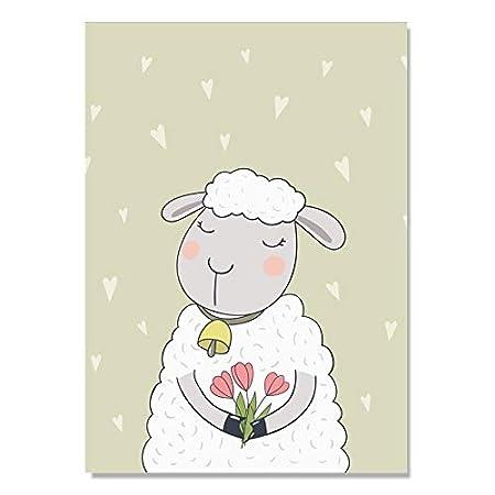 baodanla Sin Marco Cute Sheep Wall Pictures para Sala de ...