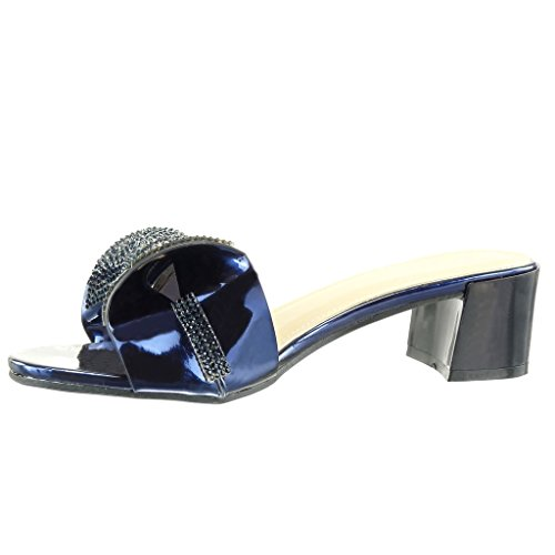 Angkorly - Scarpe da Moda sandali infradito slip-on donna papillon strass Tacco a blocco tacco alto 5 CM - Blu