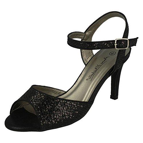 Anne Michelle Ladies Glitter Peep Toe Heels Black