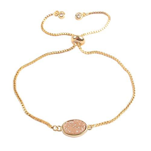 Champagne Quartz Bracelet - ZENGORI 1Pcs Gold Plated Bezel Oval Champagne Titanium Druzy Adjustable Bracelet for Women ZG0221-5