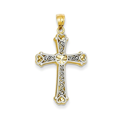 14k Gold Two-Tone Gold Hearts Cross Pendant (1.3 in x 0.75 in)