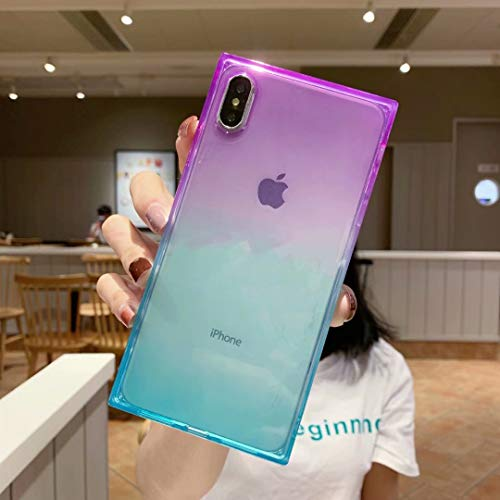 iPhone Xs Max Case,Tzomsze Clear Square Case Cute Gradient Slim Silicone Transparent Reinforced Corners TPU Cushion Cover Case for iPhone Xmax [6.5 inch]-Purple Blue