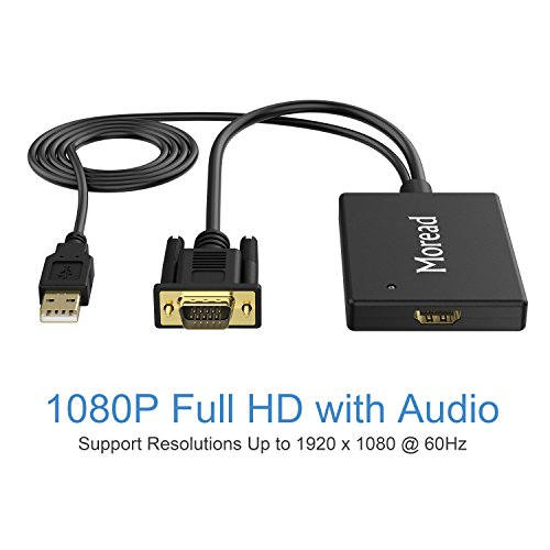 VGA to HDMI, Moread VGA to HDMI Adapter with Audio Support (Male to Female) for Computer, Desktop, Laptop, PC, HDTV, Monitor, Projector and More - Black by Moread (Image #4)
