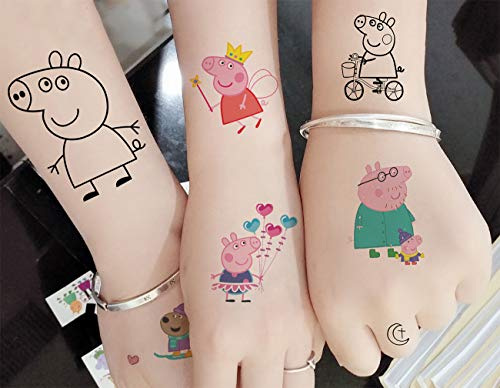 M.owstoni Peppa Pig Stickers Party Supplies Temporary Tattoos Favors for Kids 210 Glitter Styles Birthday Girls -