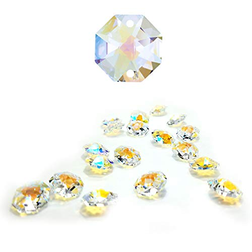 - CrystalPlace 12 Pcs Swarovski Crystal, 14mm Aurora Borealis, Two Holes Strass Octagon Lily, Ideal for Jewelry Making, Chandelier Parts, Arts Crafts