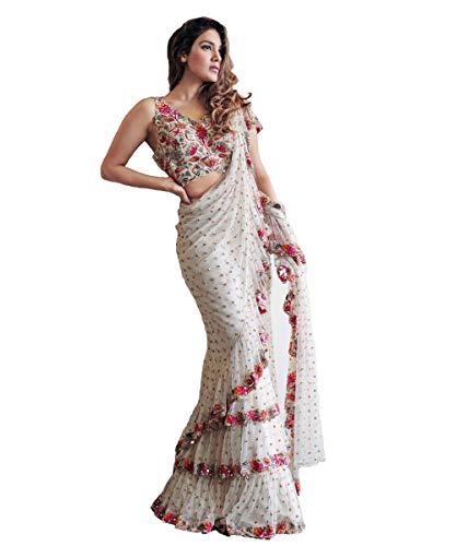 (Indian Saree Sari Frill Ruffle Border Bollywood Georgette Work Ruffle Saree White)