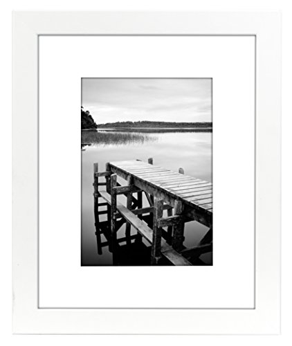 8x10 White Picture Frame - Matted to Display Photographs 5x7 or 8x10 Without Mat - Highest Quality Materials - Ready to Display on Table Top (8x10 with 5x7 Opening)