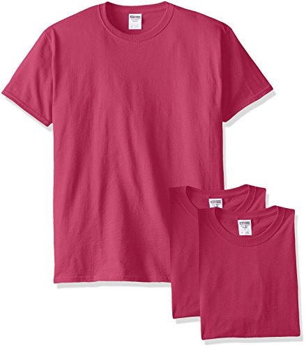 Jerzees Men's Black Heather Adult Short Sleeve Tee 3 Pack, Cyber Pink, XX-Large]()