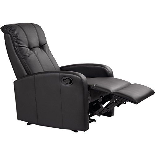 Giantex Modern Leather Recliner Chair Pushback Single Padded Seating Chaise Couch Manual Reclining Living Room Furniture Home Theater Ergonomic Lounger Sofa Reclining Chair, Black (Style 4)