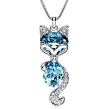 """LadyRosian """"Lucky Fox """" Fashion Jewelry Pendant Love Necklace Made with Blue Swarovski Crystal Elements Best Gifts for Women&Girls"""