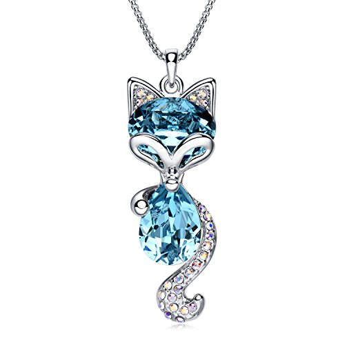 """LadyRosian Lucky Fox """" Fashion Jewelry Pendant Love Necklace Made with Blue Swarovski Crystal Elements Best Gifts for Women&Girls (Fox Jewelry)"""
