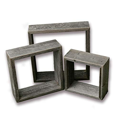 (Farmhouse Style Rustic Wood Shadow Box Frames - Reclaimed Weathered Wood - Barn Wood Character (Weathered Grey, Square))