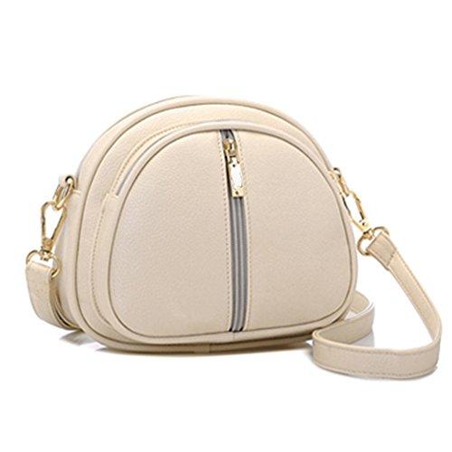 GSPStyle Damen Schultertasche Kleine Handtasche Reißverschluss Cross Body Umhängetaschen Farbe Beige