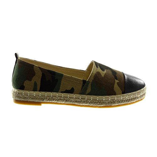 Angkorly Women's Fashion Shoes Espadrilles - Slip-on - Bi Material - Cord - Braided - Shiny Block Heel 2.5 cm Camo 90Q27YX
