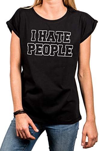 MAKAYA zabawne napisy t-shirt damski - I Hate People - Ich Hasse Menschen: Odzież