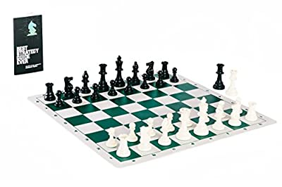 Contemporary Tournament Chess Set with Heavyweight Game Pieces, Durable Chess Board, and Strategy Guide