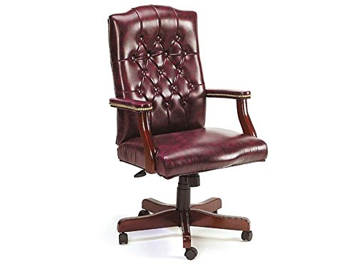 (Widmore Traditional Tufted Vinyl Executive Chair Oxblood Vinyl/Mahogany Frame Dimensions: 27