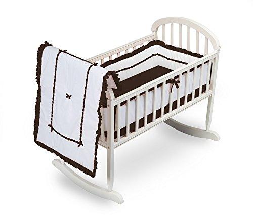 Baby Doll Bedding Unique Hotel Style Cradle Bedding Set, Chocolate