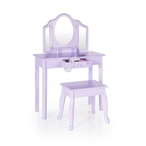 Guidecraft Vanity Table and Stool Set with Mirror and Make-Up Drawer - Children's Furniture - Lavender - Furniture Vanity
