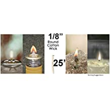 """Buy 2 Get 1 Free!!! 1/8"""" 25' Round Braided Cotton Replacement Wick For Kerosene Alcohol Oil Lamp And Candle Lamp Mate Lamplight Burner Lantern Stove"""