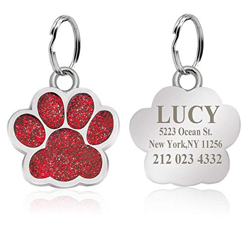 CEZB Personalized Glitter Paw Print Stainless Steel Pet ID Tags Dog Tags and Cat Tags.Customized Text Engraved (Large, Red)
