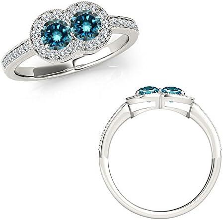 200 quilates Diamante azul Forever Us Two 2 piedras Hermosa cinta Starburst Anillo de eternidad Oro blanco de 14 quilates
