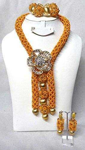 Prestigeapplause Orange et boules Doré africain Perles de mariage fête Ensemble de bijoux