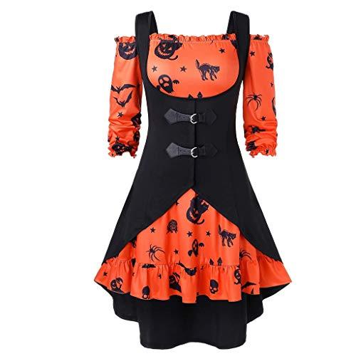 100 Floors Seasons Halloween 11 (NANTE Top Women's Blouse Two Piece Halloween Pumpkin Print Tops Off The Shoulder Vintage Dress with Vest Party Clothes Festival Clothing (Orange,)