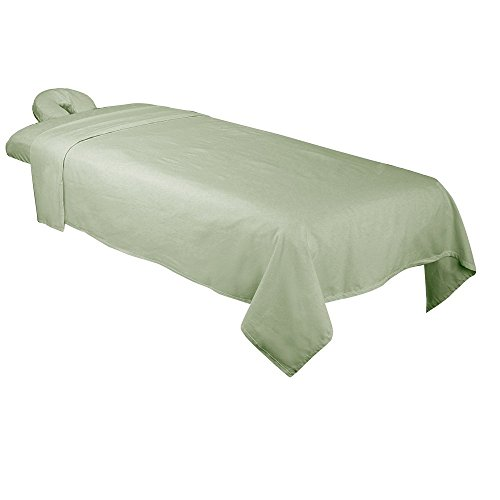 ForPro Premium Flannel 3-Piece Massage Sheet Set, Sage, for Massage Tables, Includes Massage Flat Sheet, Massage Fitted Sheet, and Massage Fitted Face Rest Cover
