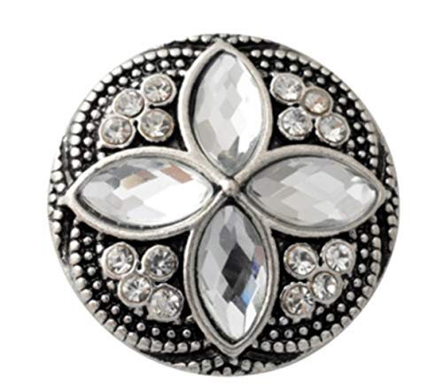 Rockin Angels White Flower Rhinestone 20mm Square Cross Snap Interchangeable Fits Ginger Snaps