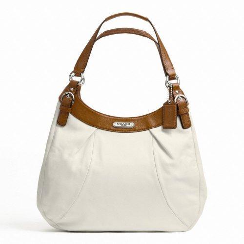 Coach Soho Leather Hobo Large White/Nutmeg F19250 (Hobo Soho Leather)