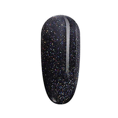 FANZEST Black Glitter Gel Nail Polish UV Gel No Chip Soak Off Nail Gel Polish Manicure Pedicure (Starry Sky)