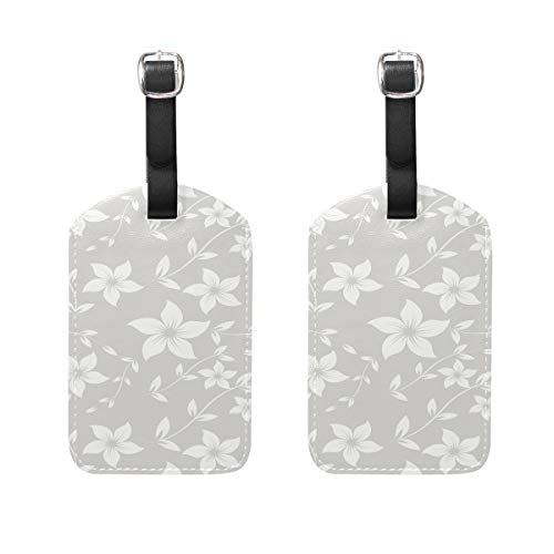 MUOOUM Cute White Flower Luggage Tages Travel Labels Suitcase Bag Tag with Name Address Cards 2 Pcs Set -