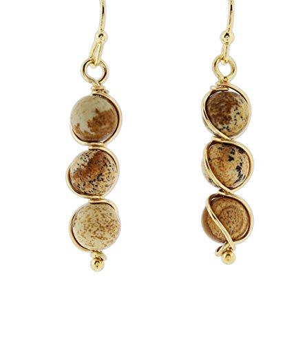 (Jubilee! Gold-Tone Metal Wrapped Triple Clay Bead Dangle Earrings (Brown))