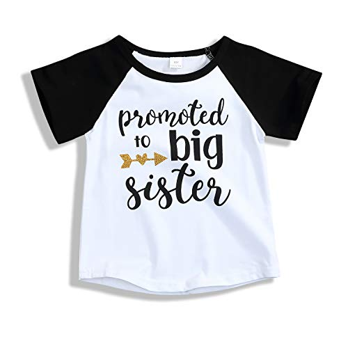 Toddler Girls T-Shirt Promoted to Big Sister Letters Print Kids Short Sleeve Tops (2-3 Years, Black)