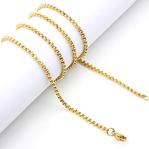 Metal Color: 18 inches 45cm, Main Stone Color: Rose Gold Davitu 18-32 Silver//Rose Gold//Gold//Black 316L Stainless Steel 2.5mm Square Rolo Chain Pendant Necklace Jewelry for Women//Men
