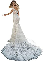 Off-Shoulder Floral Sequins Mermaid Wedding Dress