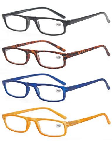 MODFANS Reading Glasses 4 Pack with Pocket Vintage Look Comfort Spring Hinge Arms Readers Glasses for Men and Women
